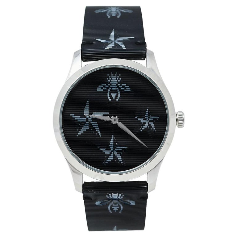 Gucci Black Stainless Steel Bee G-Timeless YA1264105 Women's Wristwatch 38 mm