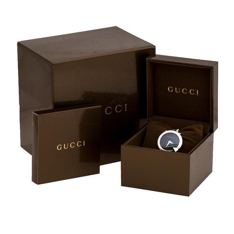 Gucci Black Stainless Steel Chiodo YA122502 Women's Wristwatch 36 mm For Sale 4