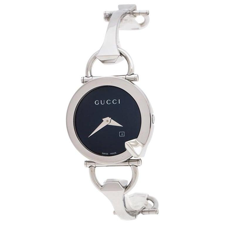 Gucci Black Stainless Steel Chiodo YA122502 Women's Wristwatch 36 mm For Sale