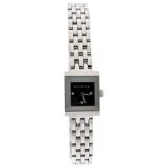 Gucci Black Stainless Steel G-Frame Diamonds 128.5 Women's Wristwatch 14 mm