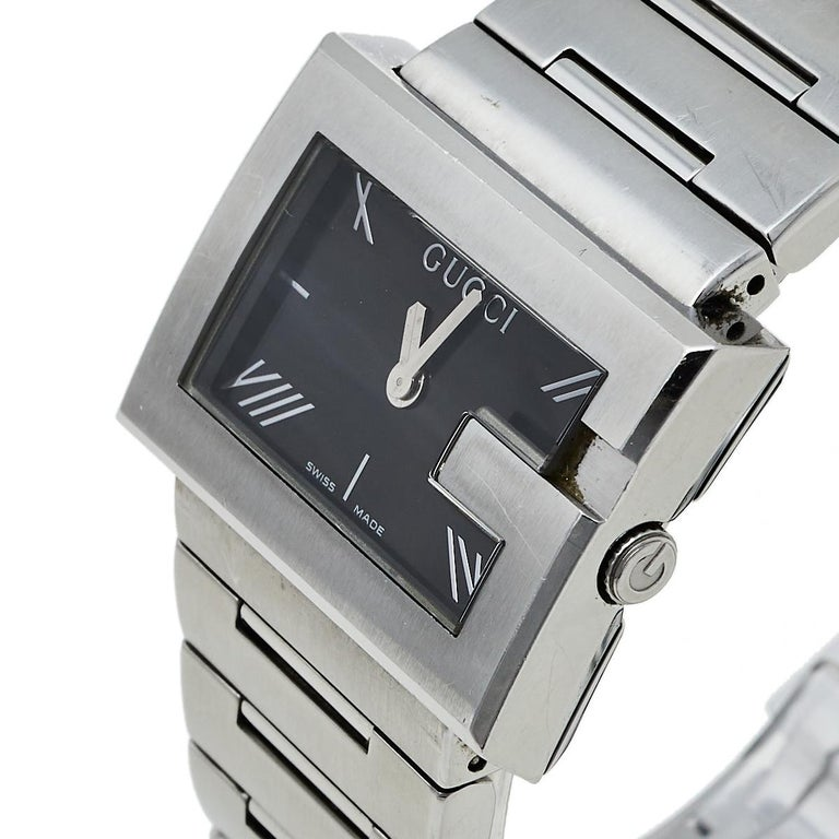 Gucci Black Stainless Steel G-Rectangle 100L Women's Wristwatch 31 mm For Sale 1