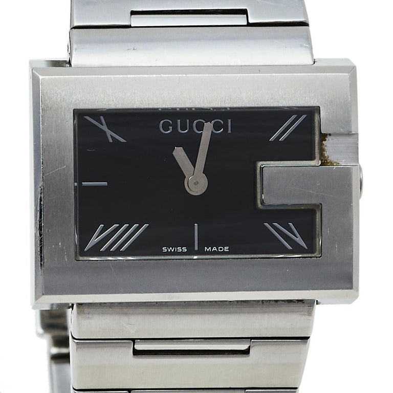 Gucci Black Stainless Steel G-Rectangle 100L Women's Wristwatch 31 mm For Sale 4