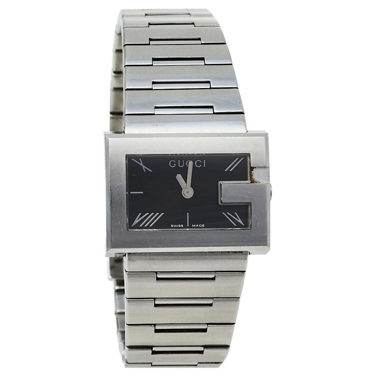 Gucci Black Stainless Steel G-Rectangle 100L Women's Wristwatch 31 mm For Sale