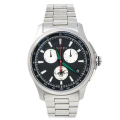 Gucci Black Stainless Steel G-Timeless 126.6 Men's Wristwatch 44 mm