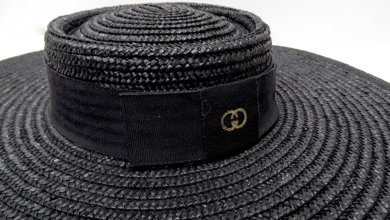 Gucci 1980s Black Straw Hat  In Excellent Condition For Sale In Scottsdale, AZ