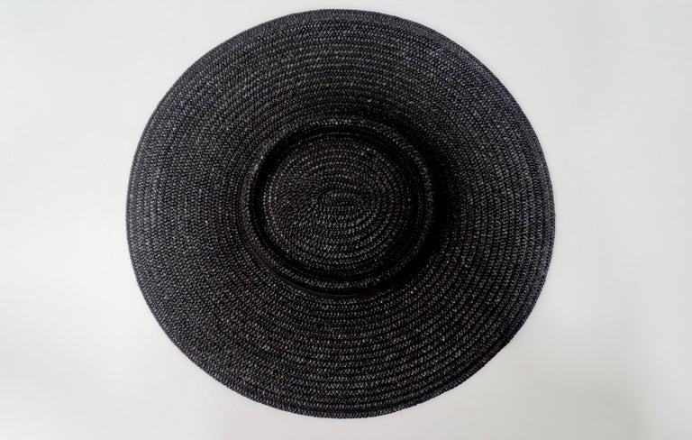 Women's Gucci 1980s Black Straw Hat  For Sale
