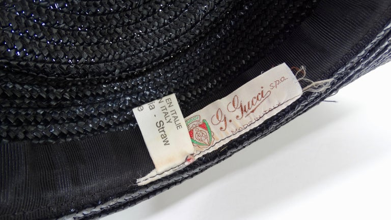 Gucci 1980s Black Straw Hat  For Sale 1