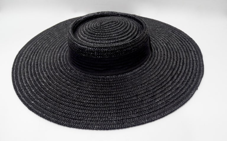 Gucci 1980s Black Straw Hat  For Sale 2
