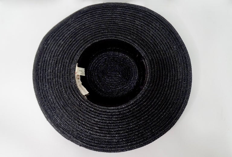 Gucci 1980s Black Straw Hat  For Sale 3
