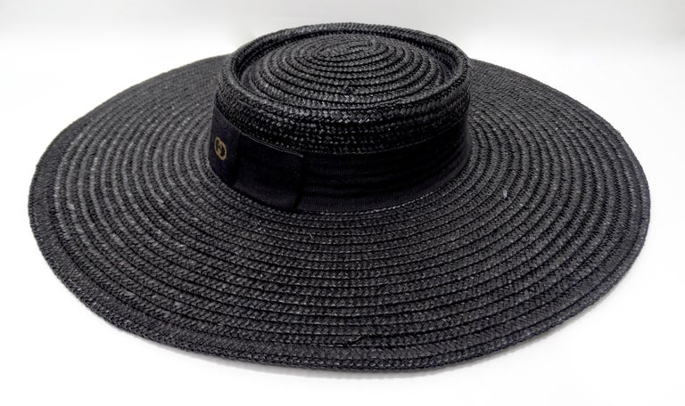 Gucci 1980s Black Straw Hat  For Sale 4