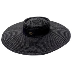 Gucci 1980s Black Straw Hat
