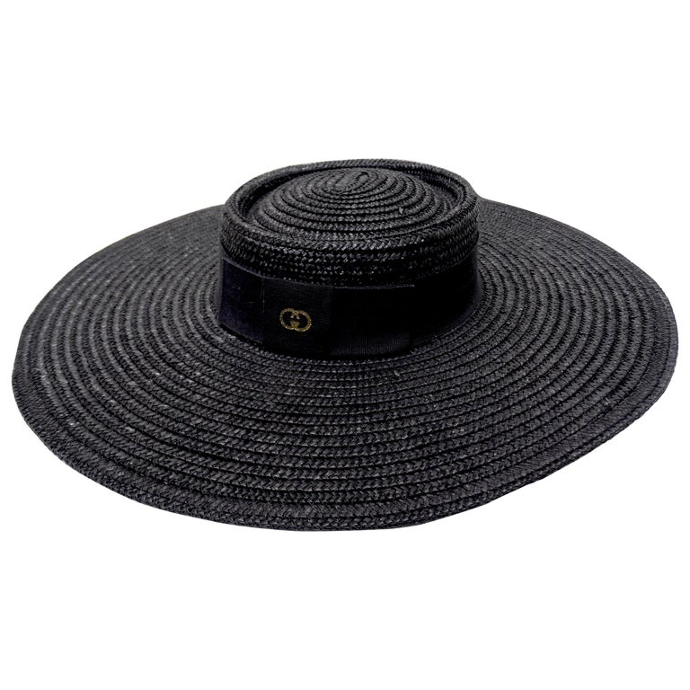 Gucci 1980s Black Straw Hat  For Sale