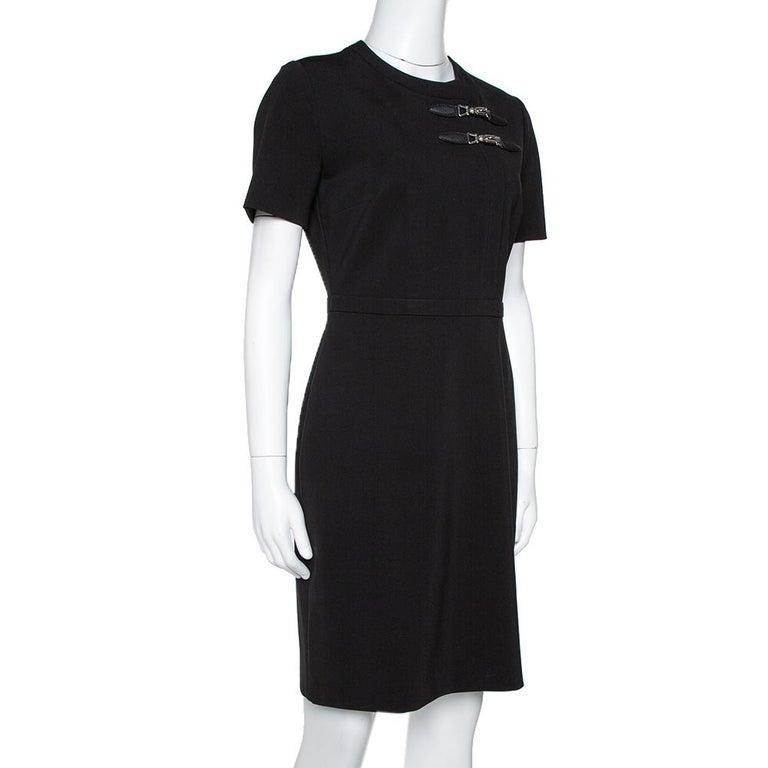 Gucci Black Stretch Jersey Buckle Detail Sheath Dress M In Good Condition In Dubai, Al Qouz 2
