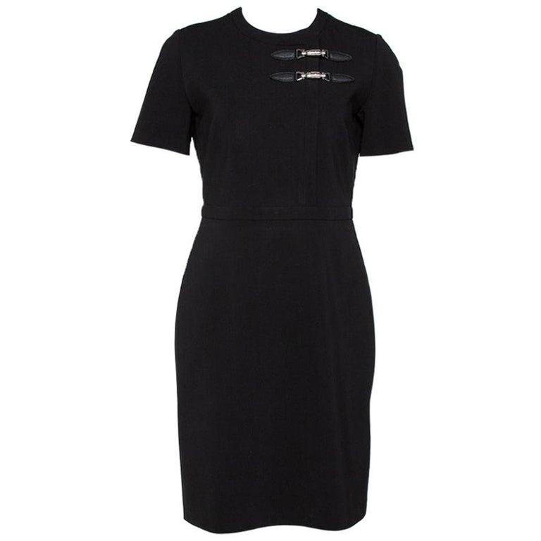 Gucci Black Stretch Jersey Buckle Detail Sheath Dress M