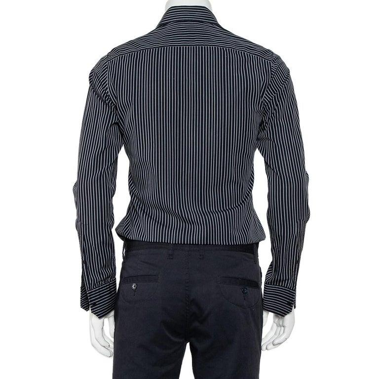 Gucci Black Striped Cotton Button Front Shirt S In Good Condition For Sale In Dubai, Al Qouz 2