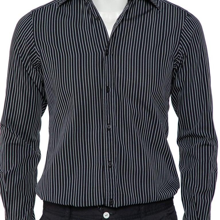 Men's Gucci Black Striped Cotton Button Front Shirt S For Sale