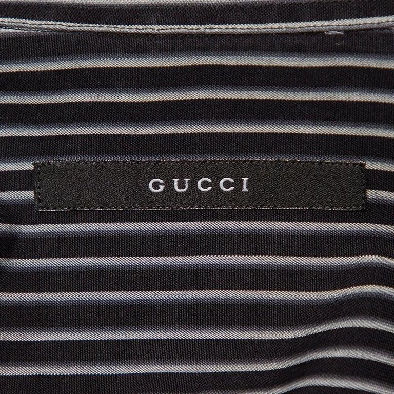 Gucci Black Striped Cotton Button Front Shirt S For Sale 1