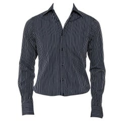 Gucci Black Striped Cotton Button Front Shirt S