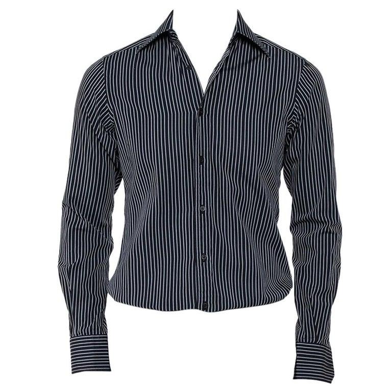 Gucci Black Striped Cotton Button Front Shirt S For Sale