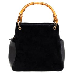 Gucci Black Suede And Leather Bamboo Tote
