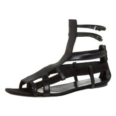 Gucci Black Suede And Leather Caged Sandals Size 39