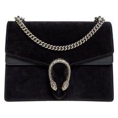 Gucci Black Suede and Leather Medium Dionysus Shoulder Bag