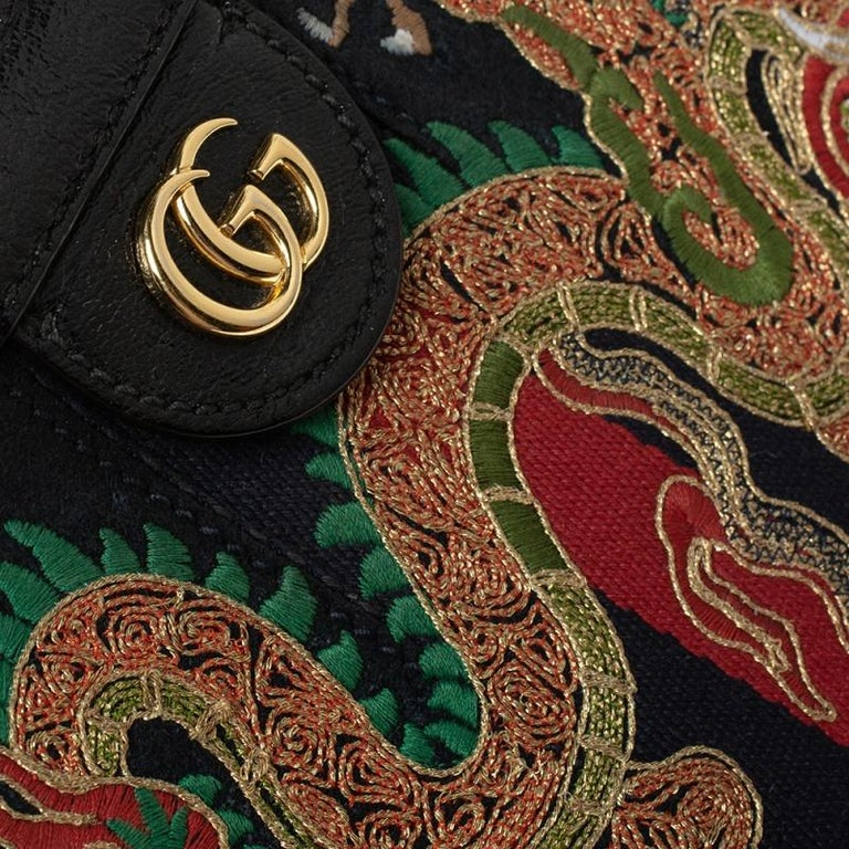 Gucci Black Suede and Leather Ophidia Dragon Bag 7