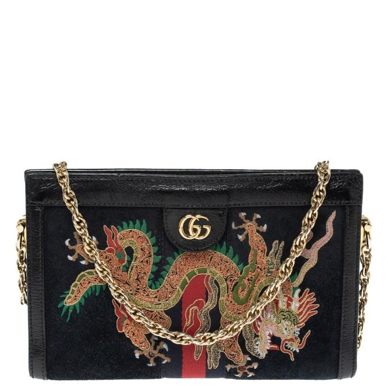 Gucci Black Suede and Leather Ophidia Dragon Bag 9