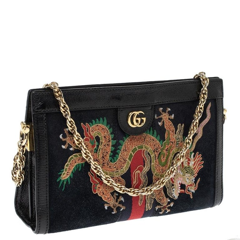 Gucci Black Suede and Leather Ophidia Dragon Bag In Good Condition In Dubai, Al Qouz 2