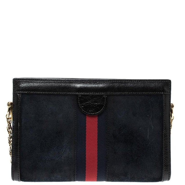 Gucci Black Suede and Leather Ophidia Dragon Bag 3