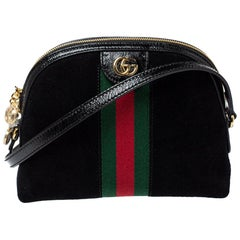 Gucci Black Suede and Patent Leather Ophidia Crossbody Bag