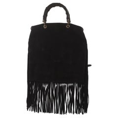 Gucci black suede bamboo handle fringes bag