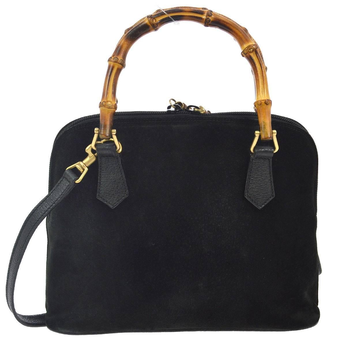 Gucci Black Suede Bamboo Party Top Handle Satchel Shoulder Bag I7Iau