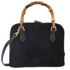Gucci Black Suede Bamboo Party Mini Top Handle Satchel Shoulder Bag