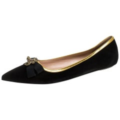 Gucci Black Suede Butterfly Bow Embellished Pointed Toe Ballet Flats Size 37.5