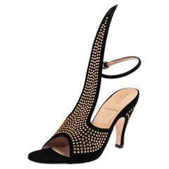 Gucci Black Suede Crystal Embellished Cone Heel Ankle Strap Sandals Size 37