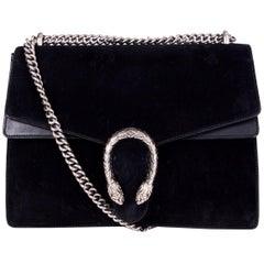 GUCCI black suede DIONYSUS MEDIUM Shoulder Bag