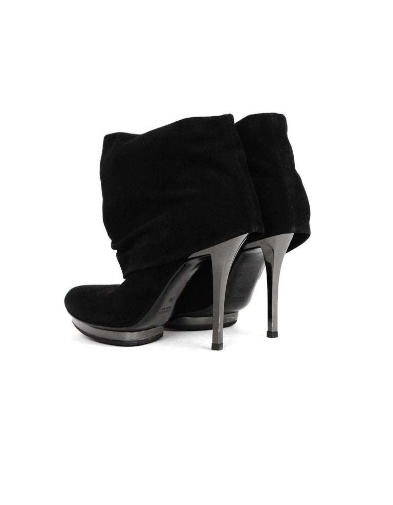 Gucci Black Suede Fold Over Heeled Boots Sz 36  Made In: Italy Color: Black Hardware: Gunmetal Materials: Suede, metal Closure/Opening: Pull on Overall Condition: Excellent pre-owned condition with exception of minor wear at back of heels and tip of