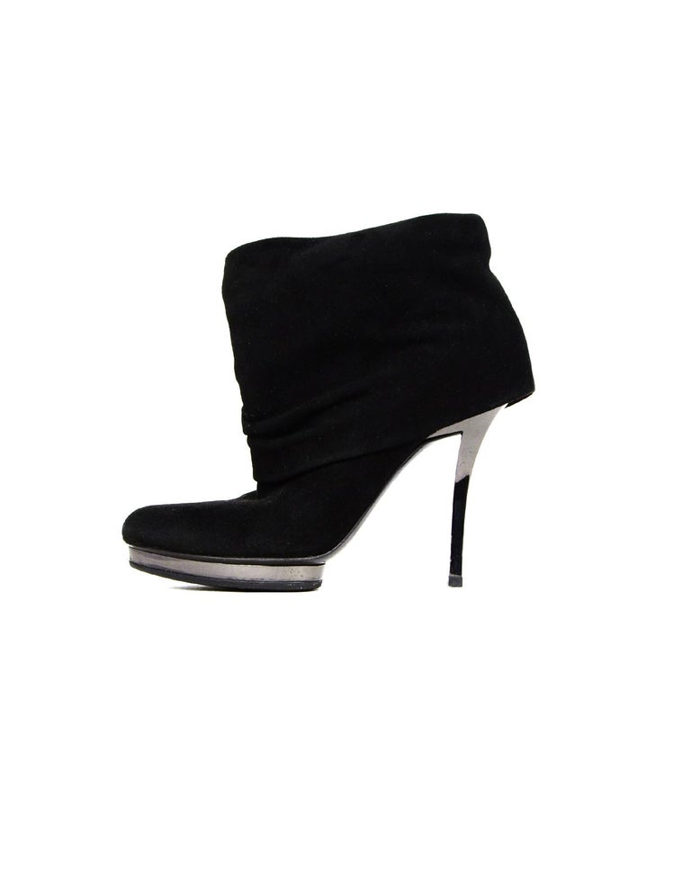 Gucci Black Suede Fold Over Heeled Boots Sz 36 1