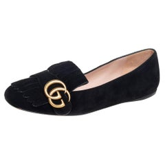 Gucci Black Suede GG Marmont Fringe Detail Ballet Flats Size 36.5