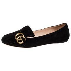 Gucci Black Suede GG Marmont Fringe Detail Ballet Flats Size 38