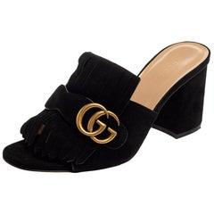 Gucci Black Suede GG Marmont Fringe Slide Sandals Size 37.5
