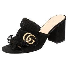 Gucci Black Suede GG Marmont Fringe Slide Sandals Size 39