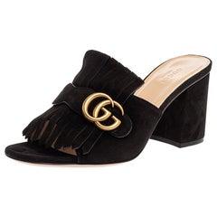 Gucci Black Suede GG Marmont Fringed Slide Sandals Size 39
