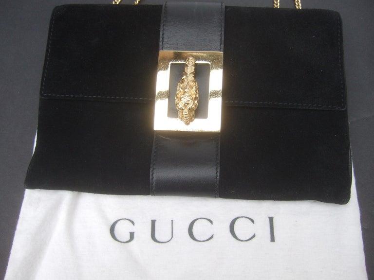 Gucci Black Suede Gilt Tiger Emblem Handbag Tom Ford Era c 1990s For Sale 6