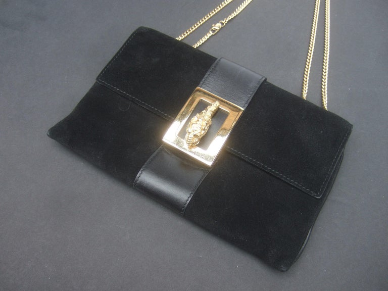 Gucci Black Suede Gilt Tiger Emblem Handbag Tom Ford Era c 1990s For Sale 7