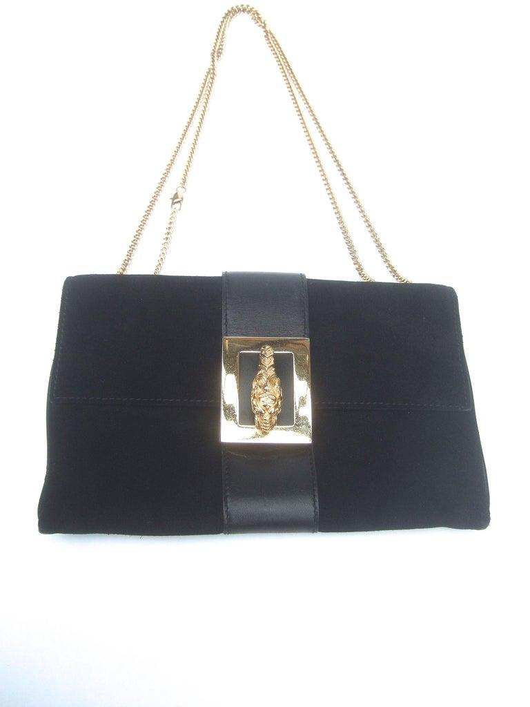 Gucci Black Suede Gilt Tiger Emblem Handbag Tom Ford Era c 1990s For Sale 8
