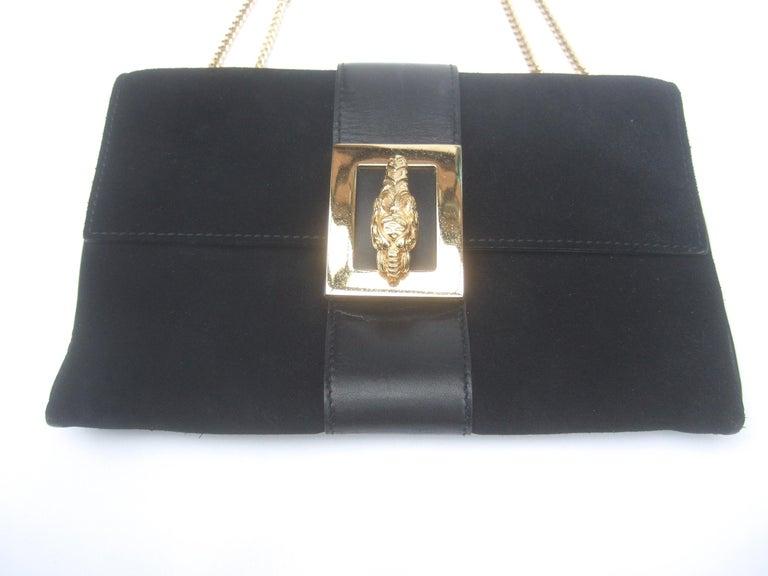 Gucci Black Suede Gilt Tiger Emblem Handbag Tom Ford Era c 1990s For Sale 9