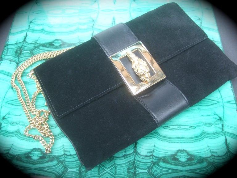 Gucci Black Suede Gilt Tiger Emblem Handbag Tom Ford Era c 1990s For Sale 10