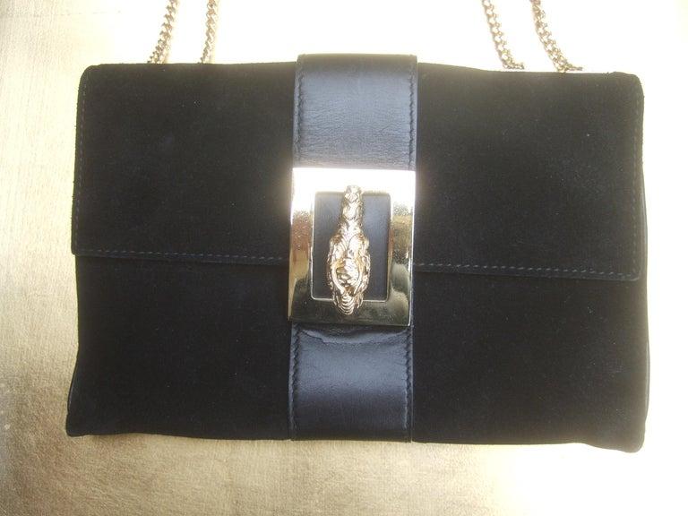 Gucci Black Suede Gilt Tiger Emblem Handbag Tom Ford Era c 1990s For Sale 11